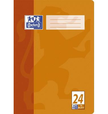 Schulheft A4 Lineatur 24 blanko mit Rand weiß 16 Blatt