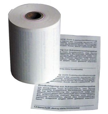 Thermorollen 57mm x 14m Kern-Ø 12mm weiß mit Druck Lastschrift 5 Stück