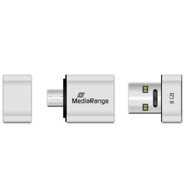 USB-Stick Nano USB 2.0 silber 8 GB mit Micro-USB Adapter
