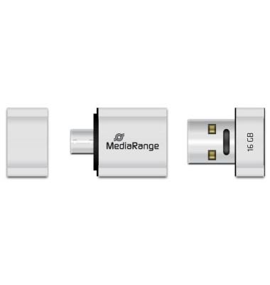 USB-Stick Nano USB 2.0 silber 16 GB mit Micro-USB Adapter