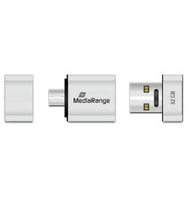 USB-Stick Nano USB 2.0 silber 32 GB mit Micro-USB Adapter