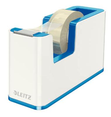 Leitz Tischabroller 5364 Duo Colour WOW weiß/blau metallic + 1 Rolle Klebeband