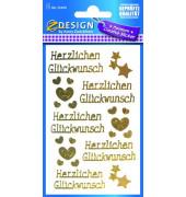 55490 Goldschrift Schmucketikett Herzl.Glückwu