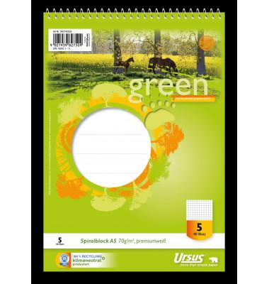 040740005 Green Pure 70g Spiralblock A5 40BL Lin5