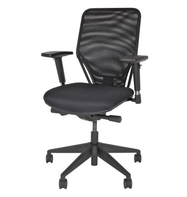 Bürodrehstuhl Optime, schwarz, netzbespannte Rückenlehne,