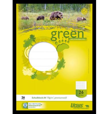 040750026 Green Pure 70g Schulblock A4 50BL Lineatur 26 kariert mit Rand