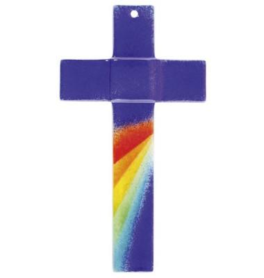 66-197 20x12x4cm Kreuz Glas Regenbogen blau