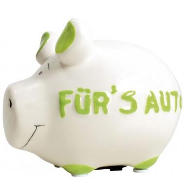 100480 Für's Auto Spardose Schwein klein weiss