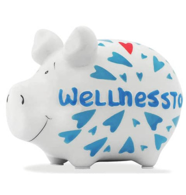 100857 Wellnesstag Spardose Schwein klein weiß