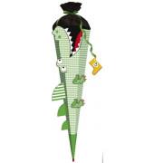 Bastel-Schultüte Krokodil vom Nil 3D 80cm 6-eckig 651008