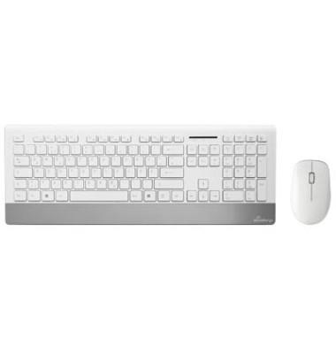 Tastatur-Maus-Set MROS106, kabellos (USB-Funk), weiß, silber