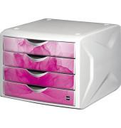 Schubladenbox wild flower - 4 Laden, weiß/pink