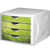 Schubladenbox the chameleon Springtime H61296-50 weiß/grün 4 Schubladen geschlossen
