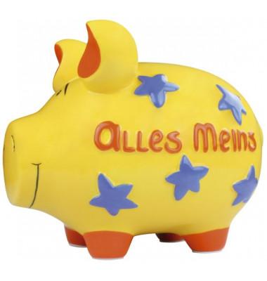 """Spardose Schwein """"Alles Meins"""" - Keramik, gelb, mittel"""