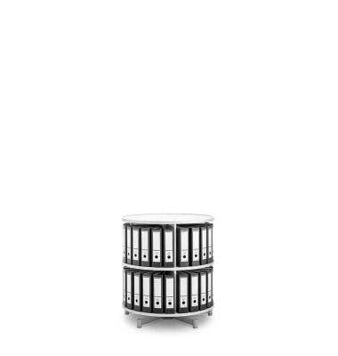 Ordnerdrehsäule Depotfile 80 2 Etagen weiß bis 48 Ordner komplett drehbar