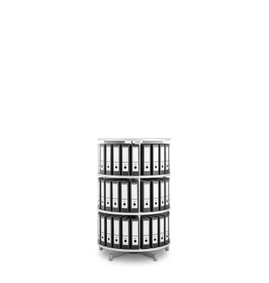 Ordnerdrehsäule Depotfile 80 3 Etagen weiß bis 72 Ordner komplett drehbar