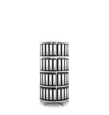 Ordnerdrehsäule Depotfile 80 4 Etagen weiß bis 96 Ordner komplett drehbar
