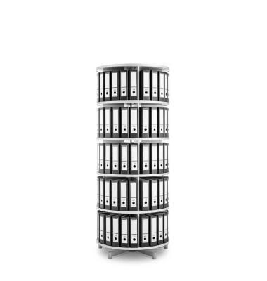 Ordnerdrehsäule Depotfile 80 5 Etagen weiß bis 120 Ordner komplett drehbar