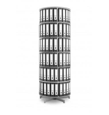 Ordnerdrehsäule Depotfile 80 6 Etagen weiß bis 144 Ordner komplett drehbar