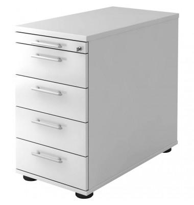 Standcontainer Solid VSC50/W/W/RE Holz weiß, 4 normale Schubladen, mit extra Utensilienauszug, abschließbar