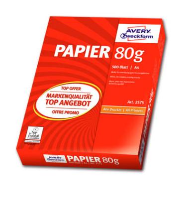 2575 Formatpapier Kopierpapier A4 80g 500Bl weiß