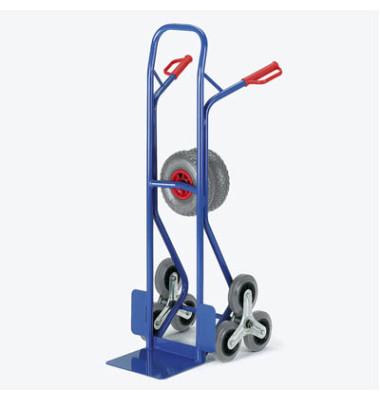 Sackkarre 20-9855 tragfähig bis 150kg blau 30x22,5cm Stahl mit 3-Rad-Stern für Treppen
