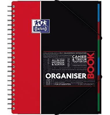 Collegeblock Studium Organiserbook 400019524, A4+ kariert, 90g 80 Blatt, 4-fach-Lochung, mit Register