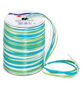 Geschenkband Raffia 3mm x 50m matt blau/grün/weiß