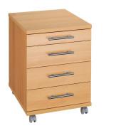 Rollcontainer 05277Z Holz buche, 3 normale Schubladen, mit extra Utensilienauszug
