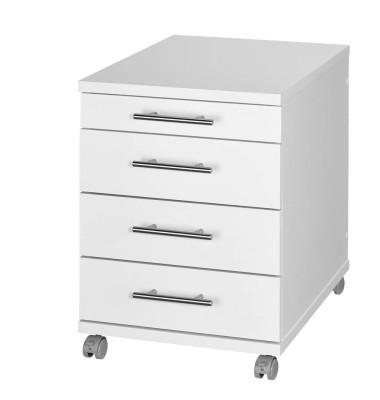 Rollcontainer 052720Z Holz weiß, 3 normale Schubladen, mit extra Utensilienauszug