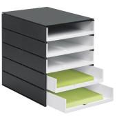 Schubladenbox styroval Pro 8001-92 schwarz/weiß 5 Schubladen offen