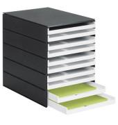 Schubladenbox styroval Pro 8002-92 schwarz/weiß 10 Schubladen offen