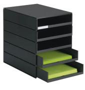 Schubladenbox styroval PRO schwarz mit 5 Schubladen