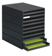 Schubladenbox styroval Pro 8002-90 schwarz/schwarz 10 Schubladen offen