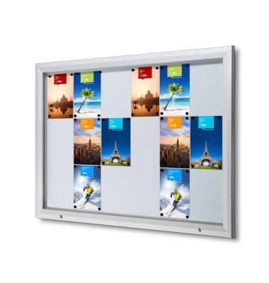 Schaukasten T-Line 18 x A4 Metallrückwand weiß, silber magnetisch
