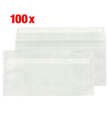 100 Briefumschläge DIN lang ohne Fenster transparent