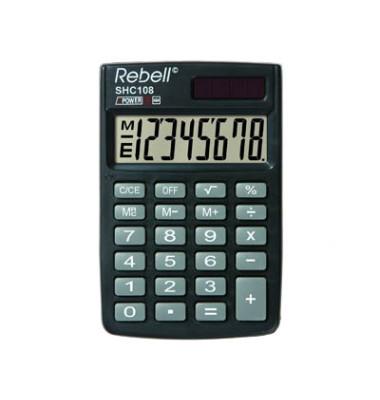 Taschenrechner SHC108 Solar-/Batterie LCD-Display schwarz/grau 1-zeilig 8-stellig