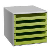 Schubladenbox 30050931 lichtgrau/lindgrün 5 Schubladen offen