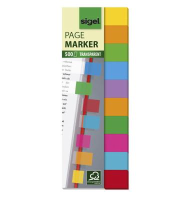 10x 50 Streifen Multicolor transparent Haftmarker farbsortiert HN684