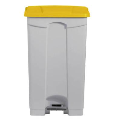 Mülleimer 90,0 l weiß, gelb H24023-18