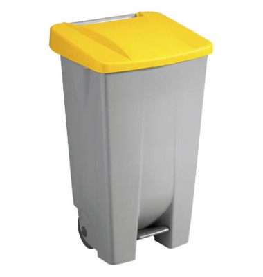 Mülleimer 120,0 l grau, gelb H24055-18