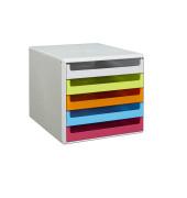 Schubladenbox lichtgrau/bunt 5 Schubladen