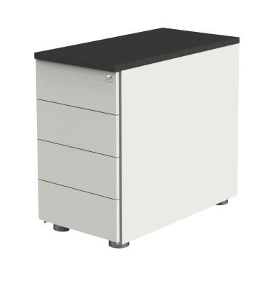 Standcontainer Move 4192 Holz weiß (Abdeckplatte anthrazit), 4 normale Schubladen, abschließbar