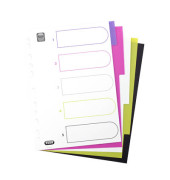 Kunststoffregister 400004808 myColour blanko A4 0,12mm farbige Taben 5-teilig