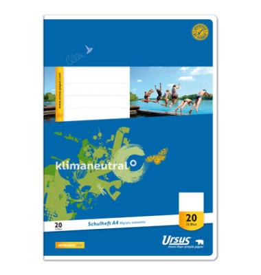 Schulheft Basic A4 Lineatur 20 blanko weiß 16 Blatt