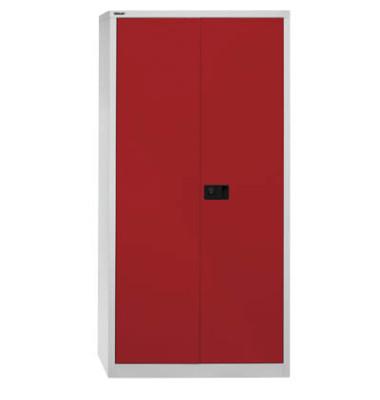 Akten-/Garderobenschrank Universal HC782S4G506, Stahl abschließbar, 5 OH, 91,4 x 195 x 50 cm, rot/lichtgrau