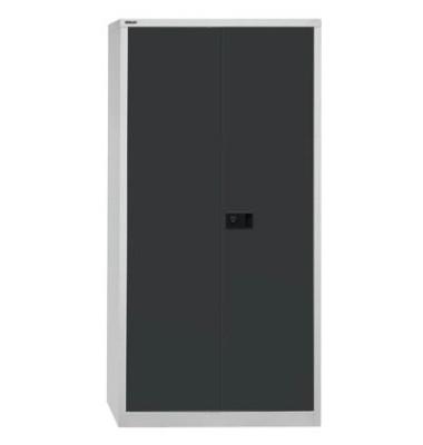 Akten-/Garderobenschrank Universal HC782S4G525, Stahl abschließbar, 5 OH, 91,4 x 195 x 50 cm, schwarz/lichtgrau