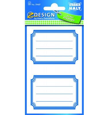 59687 Buchschild Rahmen blau