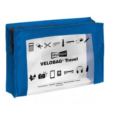 Reißverschlusstasche VELOCOLOR® Travel, PVC, blau, A5, 230 x 160 mm