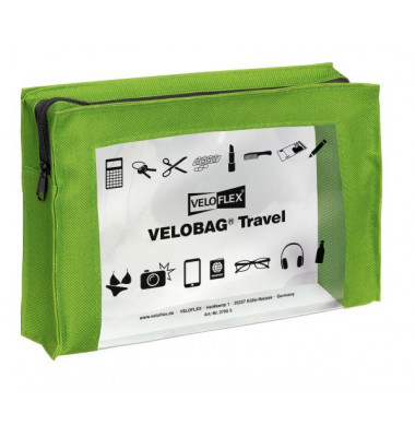 Reißverschlusstasche VELOCOLOR® Travel, PVC, grün, A5, 230 x 160 mm